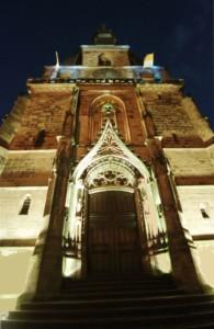 Die beleuchtete Basilika in der Wallfahrtswoche in St. Wendel, erstellt am: 28.10.00, foto: ATB